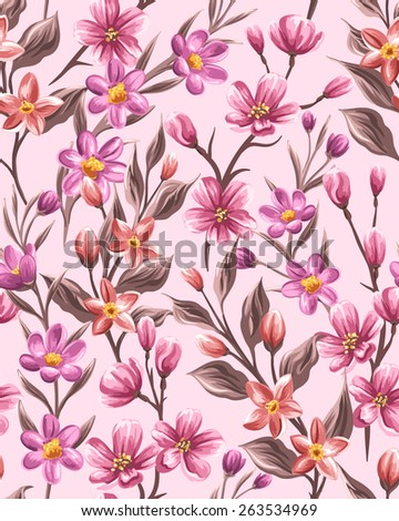 Floral seamless pattern with small pink flowers in watercolor style - stock vector