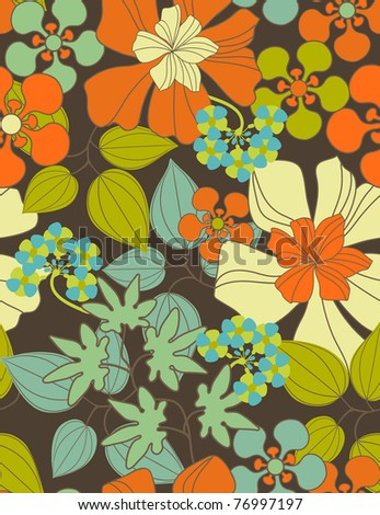 Floral seamless pattern with styled flowers - stock vector