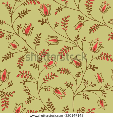 floral seamless pattern with stylized flowers. - stock vector