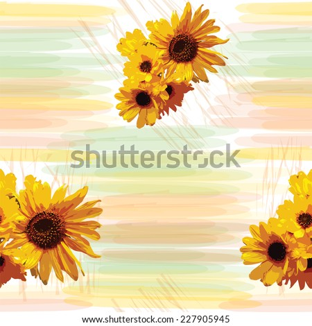 Floral seamless pattern with sunflowers on grunge striped watercolor background - stock vector