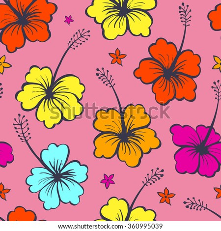 Floral seamless pattern with tropical flowers - stock vector