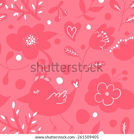 floral seamless pink pattern with flowers, butterflies, birds, hearts, branches, dots - hand drawn vector illustration