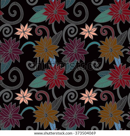 Floral seamless spring pattern. Hand drawn Vector. Colorful background with flowers. - stock vector