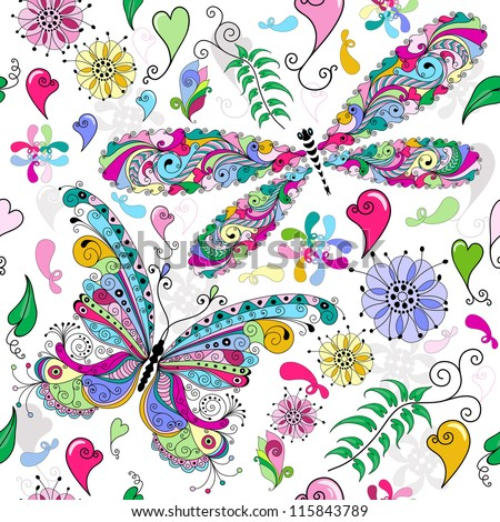 Floral seamless valentine pattern with colorful butterfly and dragonfly and hearts (vector) - stock vector