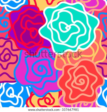 Floral seamless vector pattern. Colorful retro roses with bold contours. Art Nouveau style vintage textile collection. Pink, blue, purple. Backgrounds & textures shop. - stock vector