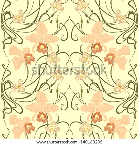 floral seamless vector pattern in modern style - stock vector