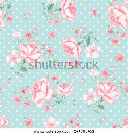 Floral seamless vintage pattern. Rose background with polka dots. Shabby chic. - stock vector