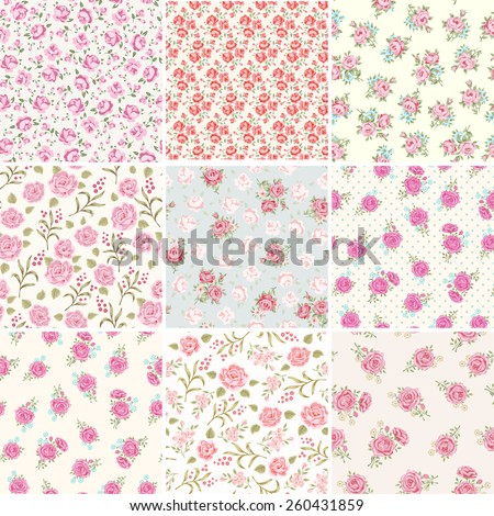 Floral seamless vintage pattern set. Shabby chic rose background collection. - stock vector