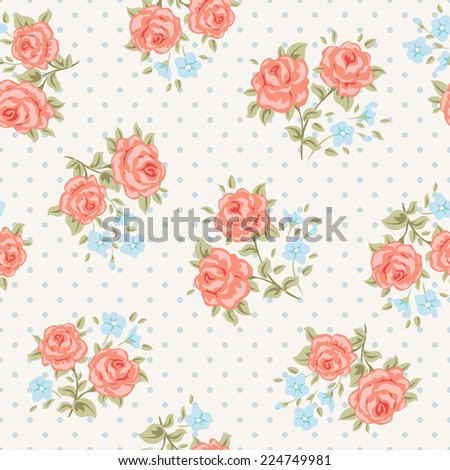 Floral seamless vintage pattern. Shabby chic rose background. - stock vector