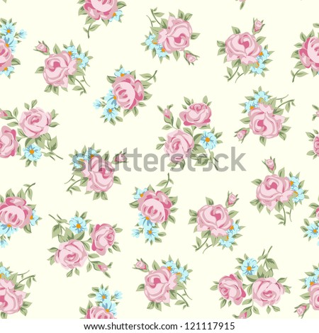 Floral seamless vintage pattern. Shabby chic rose background for you scrapbooking . - stock vector