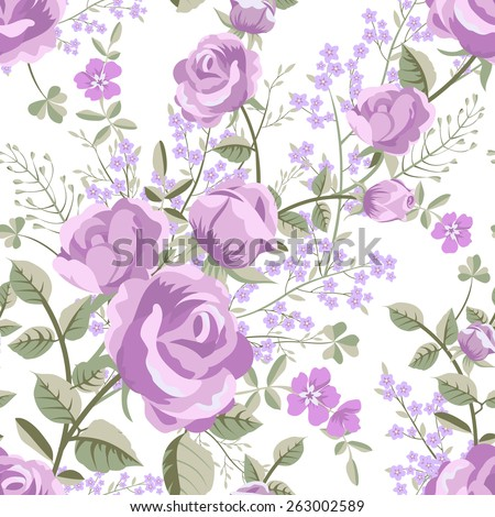 Floral seamless vintage rose pattern - stock vector
