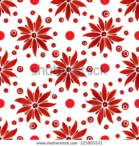 Floral seamless watercolor pattern, bright red flowers and circles on a white background.  - stock vector