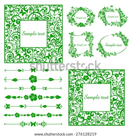Floral set for your design.  Collection of design elements isolated on White background. Vector illustration - stock vector