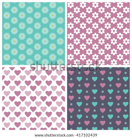floral set of geometric, abstract seamless pattern with flowers, daisies and hearts. - stock vector