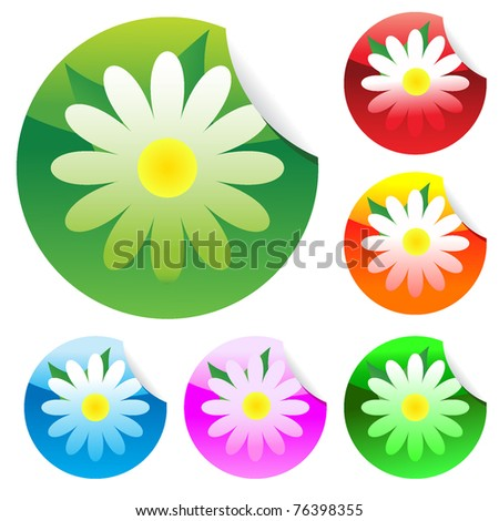 Floral set of round glossy stickers with corner. Vector illustration. EPS8 - stock vector