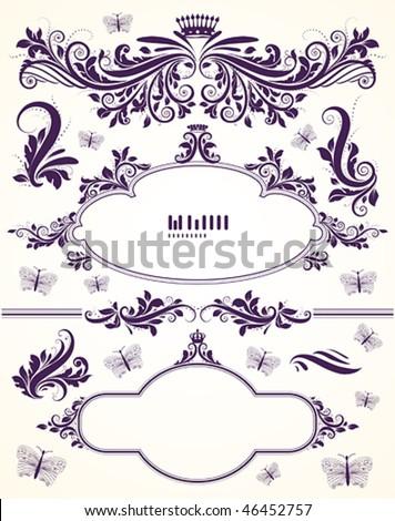 Floral set of vintage ornaments - stock vector