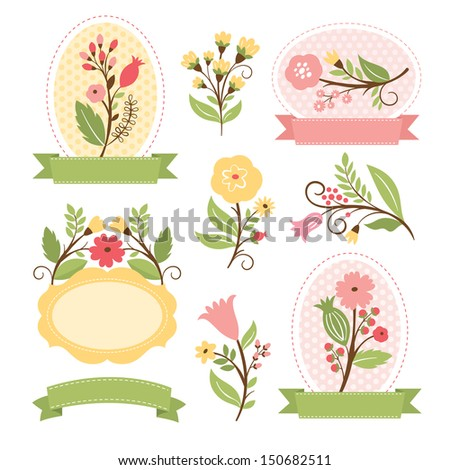 Floral set, vector collection  - stock vector