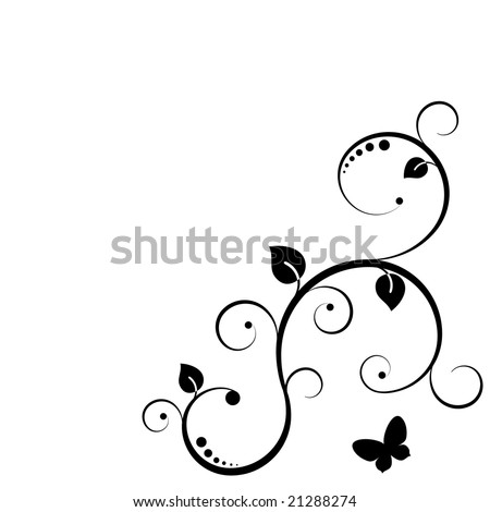 Floral silhouette frame. Black and white. - stock vector