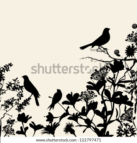 Floral Silhouettes Background Corner - birds perched on flowers and plants in black, against a neutral background - stock vector