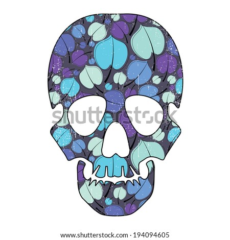 Floral skull isolated on white