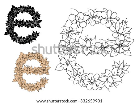Floral Letters Coloring : Floral letter a stock photos royalty free images & vectors