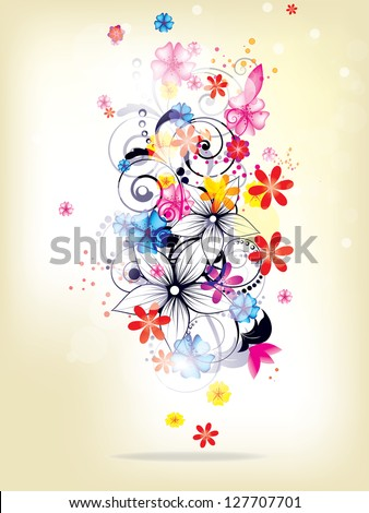 Floral spring elements and flowers - stock vector