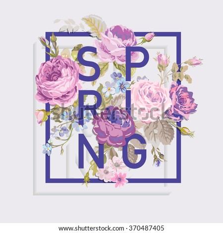 Floral Spring Graphic Design - for t-shirt, fashion, prints - in vector - stock vector