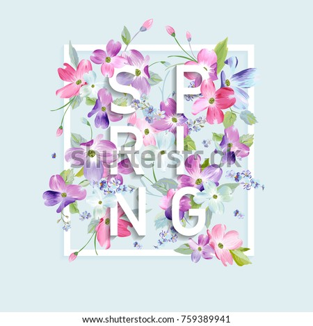 Floral Spring Graphic Design With Dogwood Blossom Flowers For Fashion Print Poster T