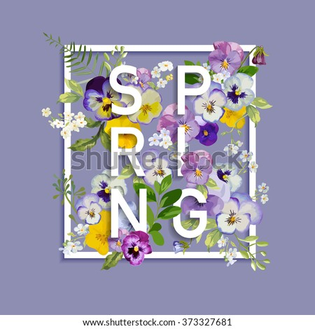 Floral Spring Graphic Design - with Pansy Flowers - for t-shirt, fashion, prints - in vector - stock vector