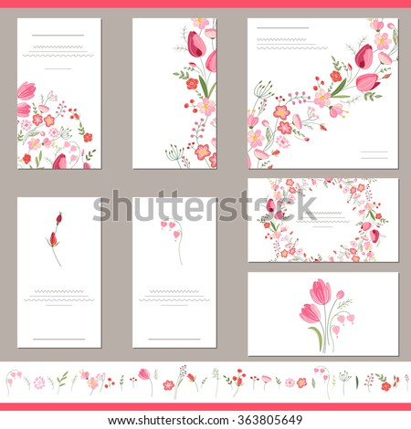 Floral spring templates with cute bunches of red tulips. Endless horizontal  pattern brush.  For romantic and easter design, announcements, greeting cards, posters, advertisement. - stock vector