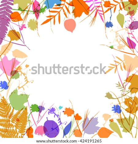 floral square frame wreath of flowers, natural design leaves flowers. Spring summer design for invitation, wedding greeting cards. Lavender purple blue pink ivory silhouette, white background. Vector - stock vector