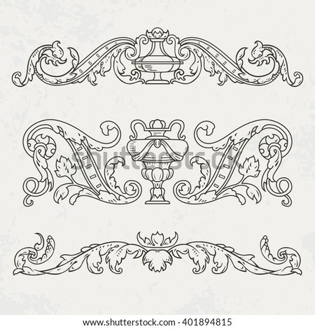 Floral style design elements. Vector illustration. - stock vector