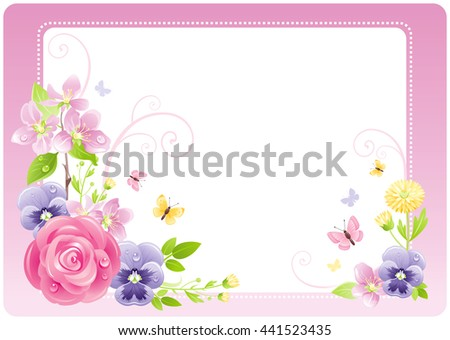 Floral summer background frame with rose, cherry blossom, violet flowers, leafs, grass, copy space for text. Natural design template for birthday greeting card, wedding invitation, other celebration - stock vector
