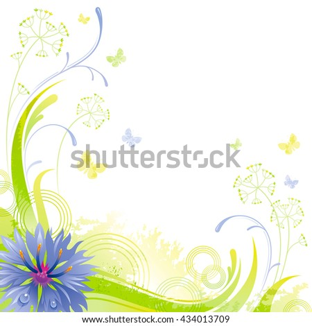 Floral summer background with blue cornflower, leafs, grass and grunge elements, copy space for your text - stock vector