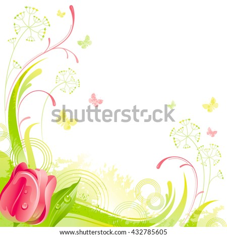 Floral summer background with red tulip flower, leafs, grass and grunge elements, copy space for your text