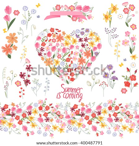 Floral summer elements with cute bunches of tulips, daffodils and roses. Endless horizontal  pattern brushes. For romantic and easter design, announcements, greeting cards, posters, advertisement.