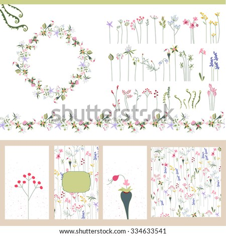 Floral summer templates. For romantic design, announcements, postcards, posters. - stock vector