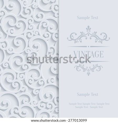 Floral Swirl Background with 3d Curl Damask Pattern for Wedding or Invitation Card. Vector White Vintage Design - stock vector