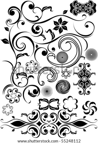 floral swirls and design elements - stock vector