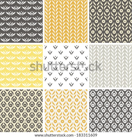 Floral Textures Vector Pattern Set - stock vector