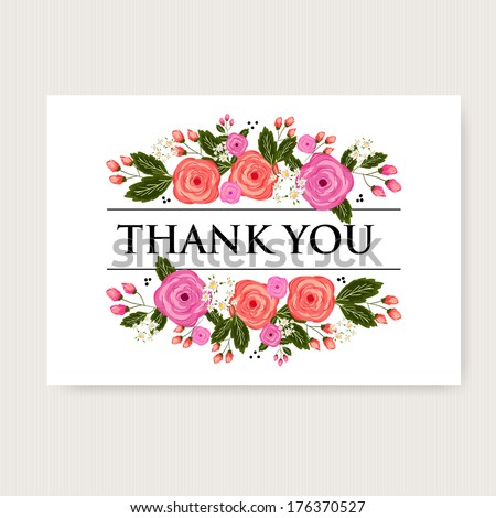 Beautiful Thank You Cards floral thank you card beautiful realistic stock vector 176370527