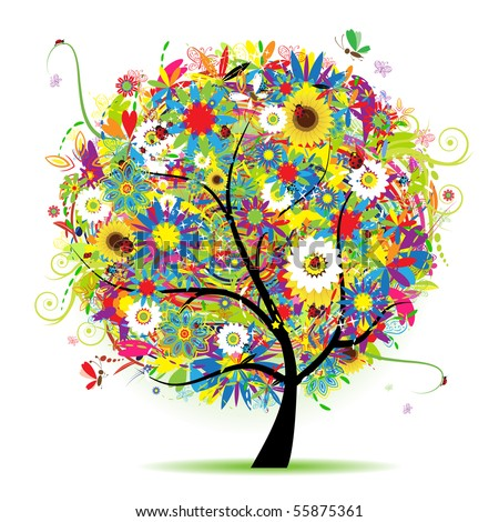 Floral tree beautiful, summer - stock vector