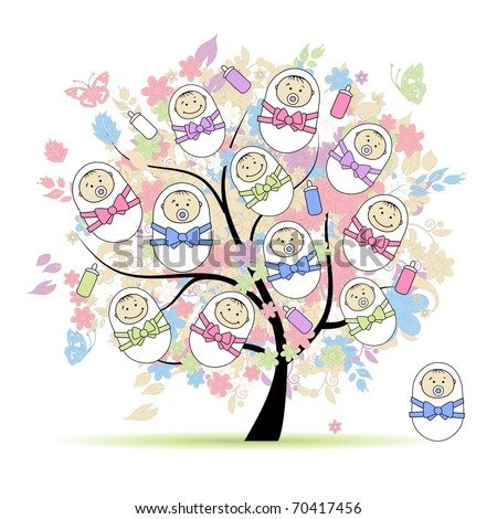 Floral tree with newborns for your design - stock vector