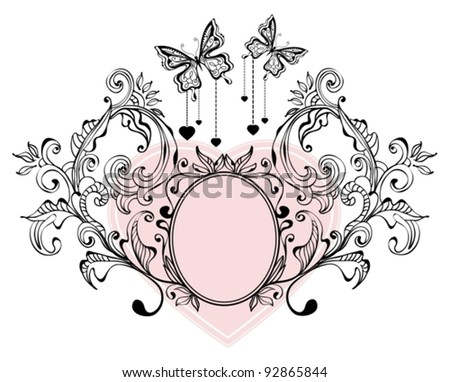 Floral Valentine background with butterflies, vector