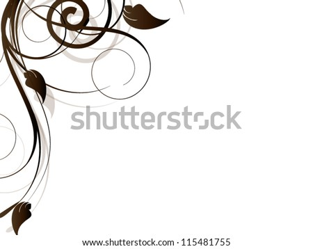 Floral vector abstract background with flowers,ornamental elements and swirls - stock vector