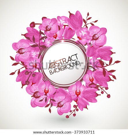 Floral vector background-Orchids wreath - stock vector