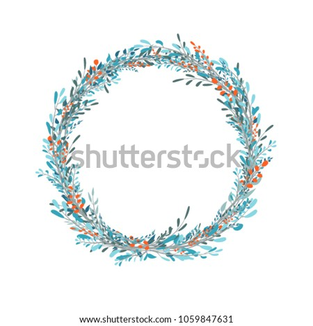 Floral Vector Card Design With Blue Leaves Elegant Greenery Herbs Forest Round Circle Wreath