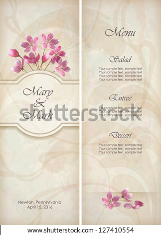 Floral vector decorative wedding menu invitation stock vector floral vector decorative wedding menu invitation template design with beautiful realistic bouquet of pink flowers mightylinksfo