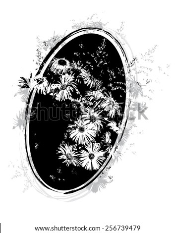 floral vector illustration with bunch of flowers in black and white colors - stock vector
