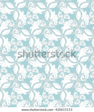 Floral vector light blue and white ornament. Seamless abstract classic pattern with flowers - stock vector